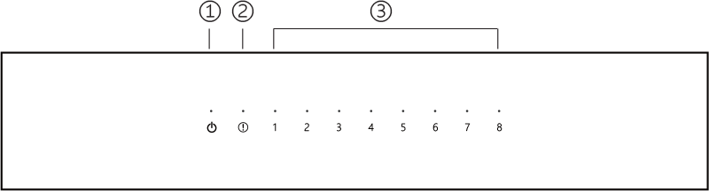 A technical drawing of the frontside of the 8Switch